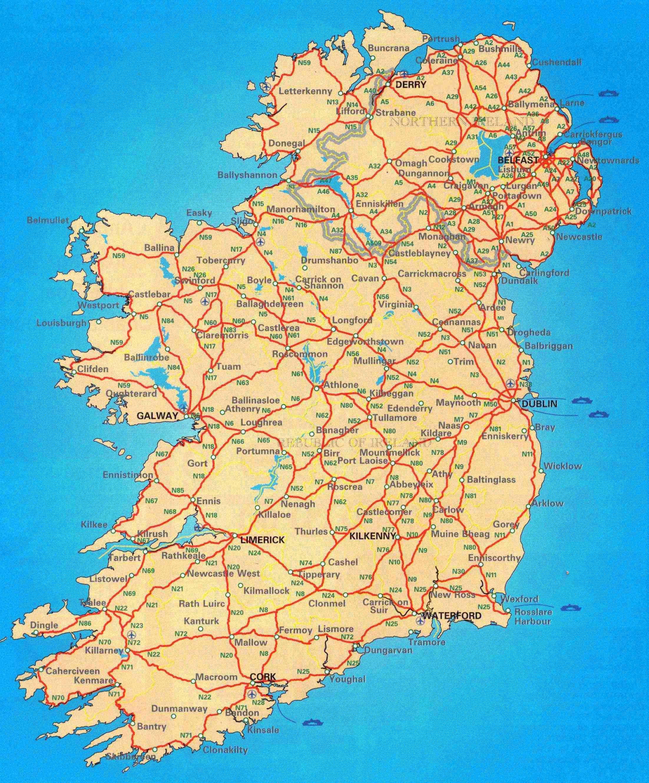Irlanda Del Nord Cartina Geografica.Irlanda Strade Sulla Mappa Mappa Stradale Di Irlanda Europa Del Nord Europa