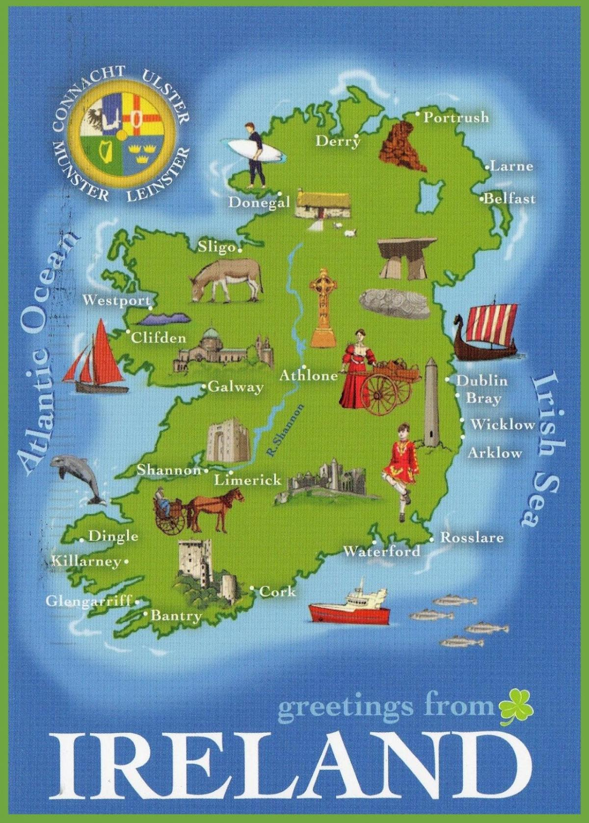 Irlanda Cartina Turistica.Cartina Mappa Turistica Dell Irlanda Mappa Di Irlanda Principali Attrazioni Europa Del Nord Europa