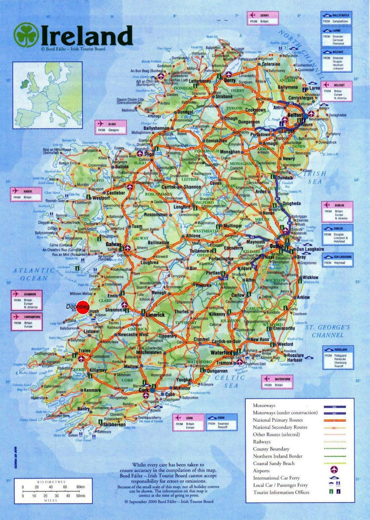 Irlanda Cartina Turistica.Irlanda Attrazioni Turistiche Mappa Mappa Di Irlanda Mostrando Attrazioni Turistiche Europa Del Nord Europa