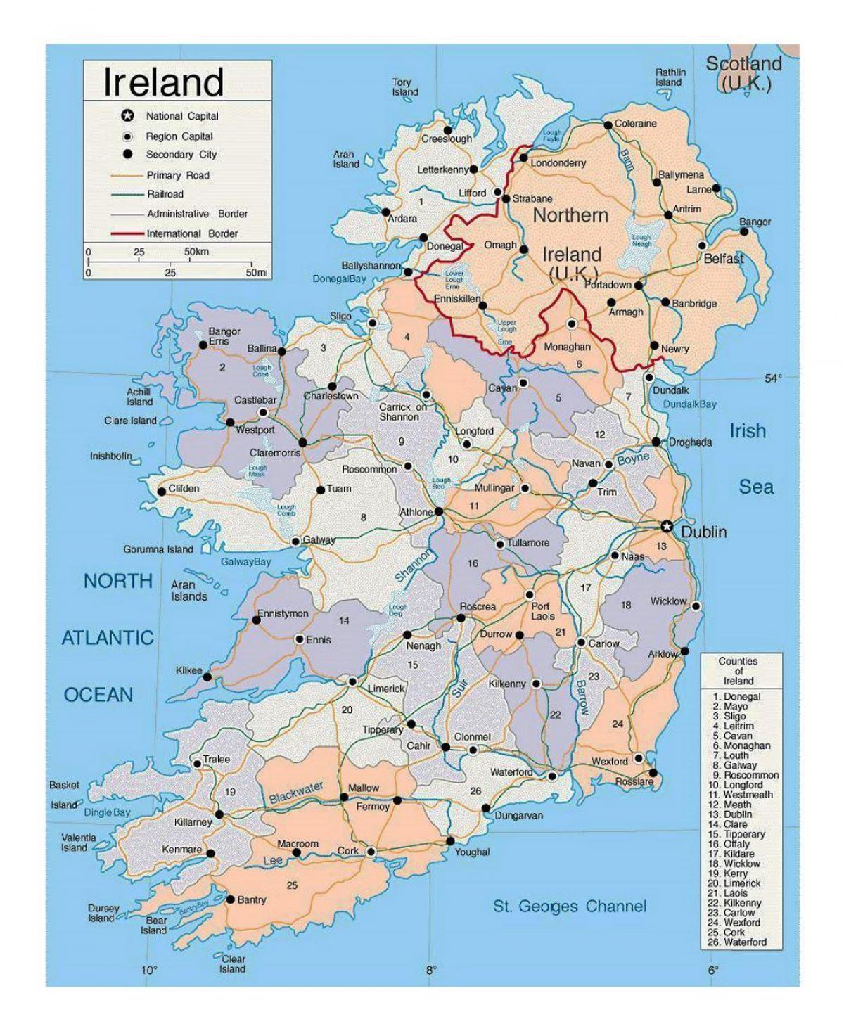 Irlanda Cartina Turistica.Irlanda Citta Sulla Mappa Mappa Dell Irlanda Con La Citta Europa Del Nord Europa