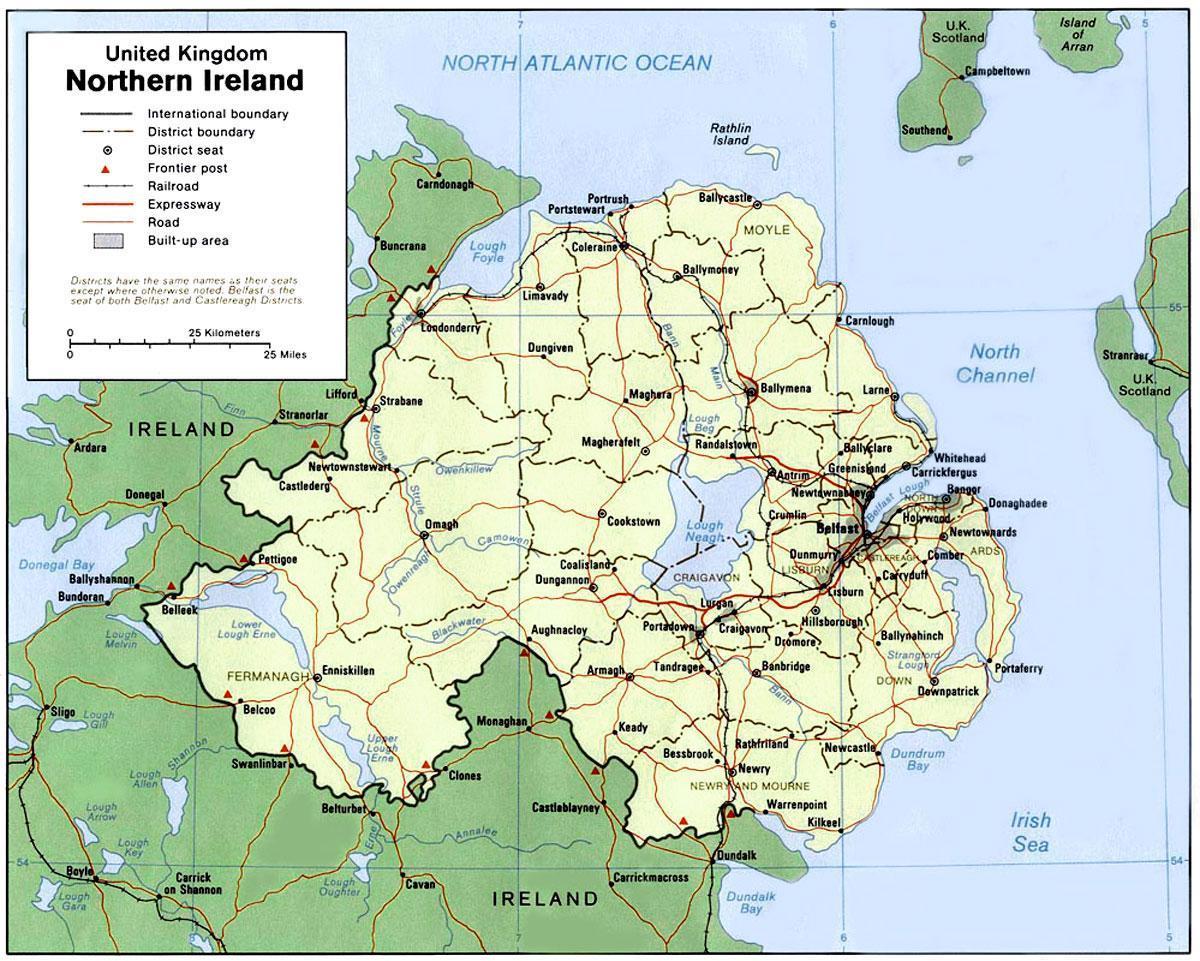 Cartina Nord.Irlanda Del Nord Confine Mappa Cartina Dell Irlanda Del Nord Europa Del Nord Europa